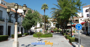 Beautiful Tree-Lined Plazas & Fountains in Mijas Pueblo, Mijas Costa, Costa del Sol, Andalucia, Spain OG01