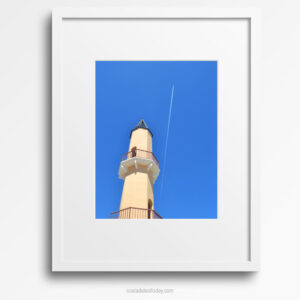 Holiday Dreams - Framed Print, Fuengirola Marina Tower against Clear Blue Sky with Aeroplane and Vapour Trail