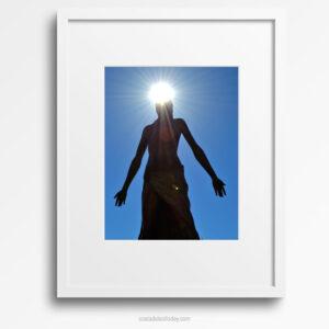 Mediterranea, Lady of the Sea - Framed Print - Bronze Staue of Mediterranea against Clear Blue Sky with Sunburst