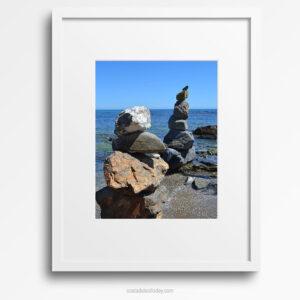 Mystic Beach - Framed Print, Rock Cairns on Calm Mediterranean Beach