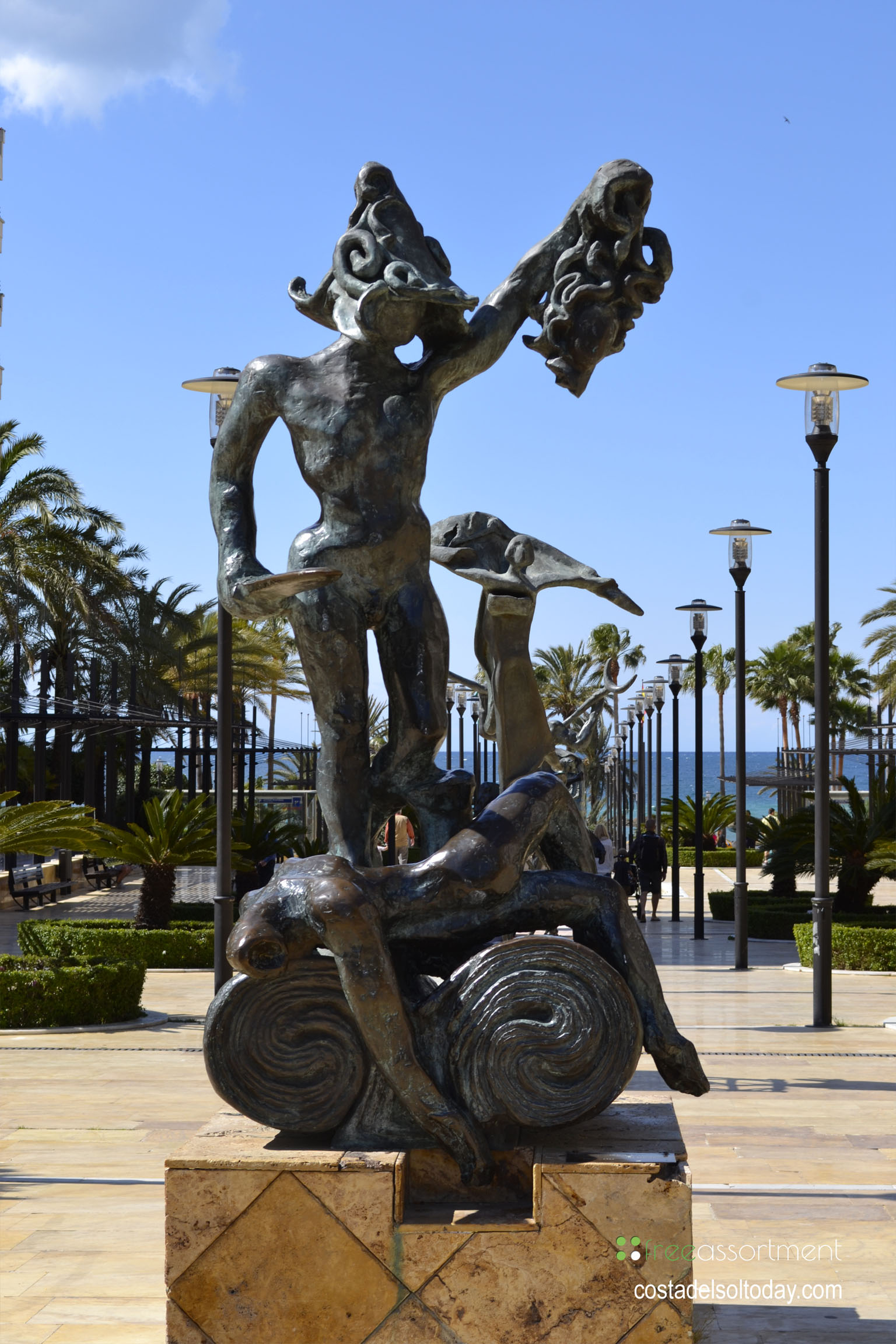Perseus holds the head of Medusa, bronze statue by Salvador Dali on the Avenida del Mar in Marbella, Spain - One of ten spectacular Dali sculptures 02