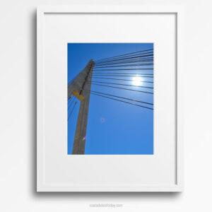 Sunburst Geometry - Framed Print, Fuengirola Bridge against Clear Blue Sky
