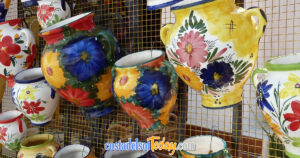 Traditional Colourful Pottery on Display in Mijas Pueblo, Mijas Costa, Costa del Sol, Andalucia, Spain OG01